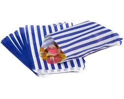 Blue Candy Striped Candy Striped Paper Bags