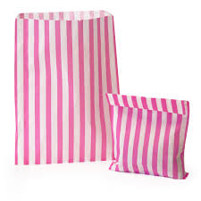Pink Candy Striped Candy Striped Paper Bags