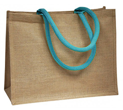 Coloured Handle Jute Bag