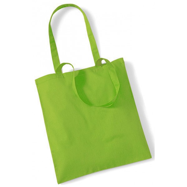 Lime Green Cotton Bags Long Handle