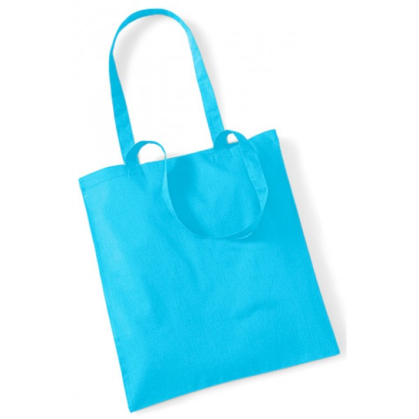 Sky Blue Cotton Bags Long Handle